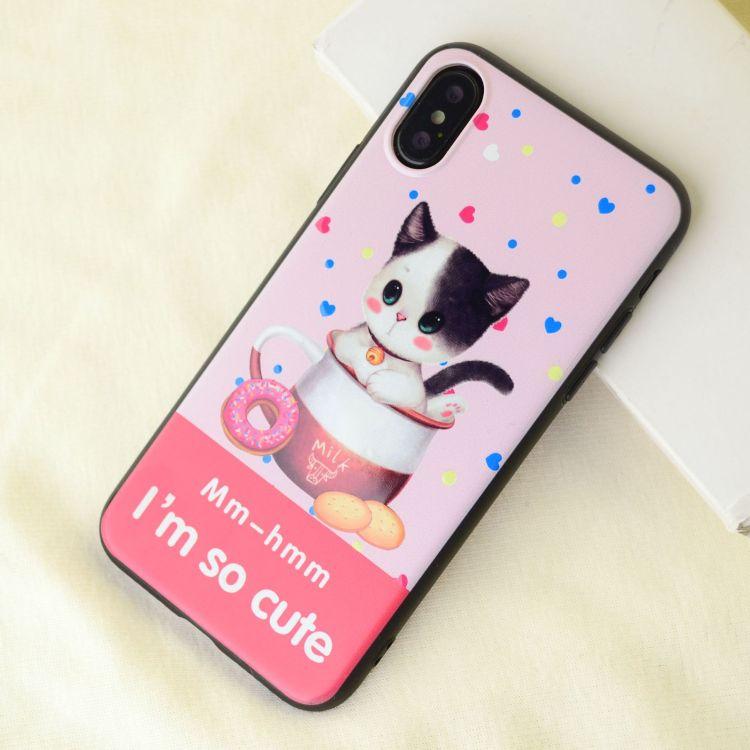 可愛卡通貓咪狗狗手機殼 光油彩繪iPhonex黑邊磨砂手機保護套定制