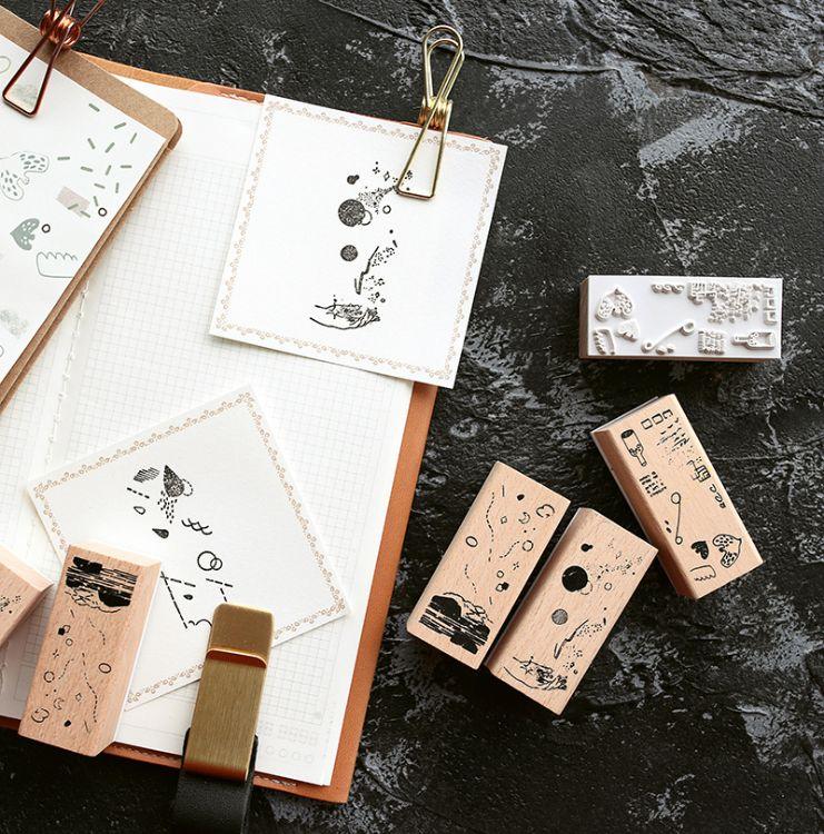 芯陌 自然碎片木质手帐印章装饰diy日记本手账实木印章素材