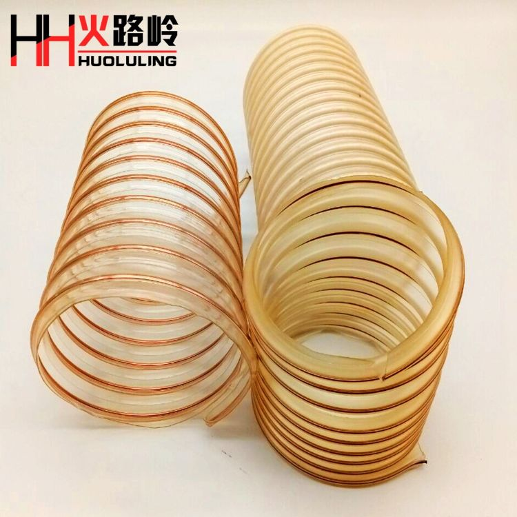 工厂直销 pu钢丝筋风管 pvc透明伸缩通风软管 钢丝加强筋风管
