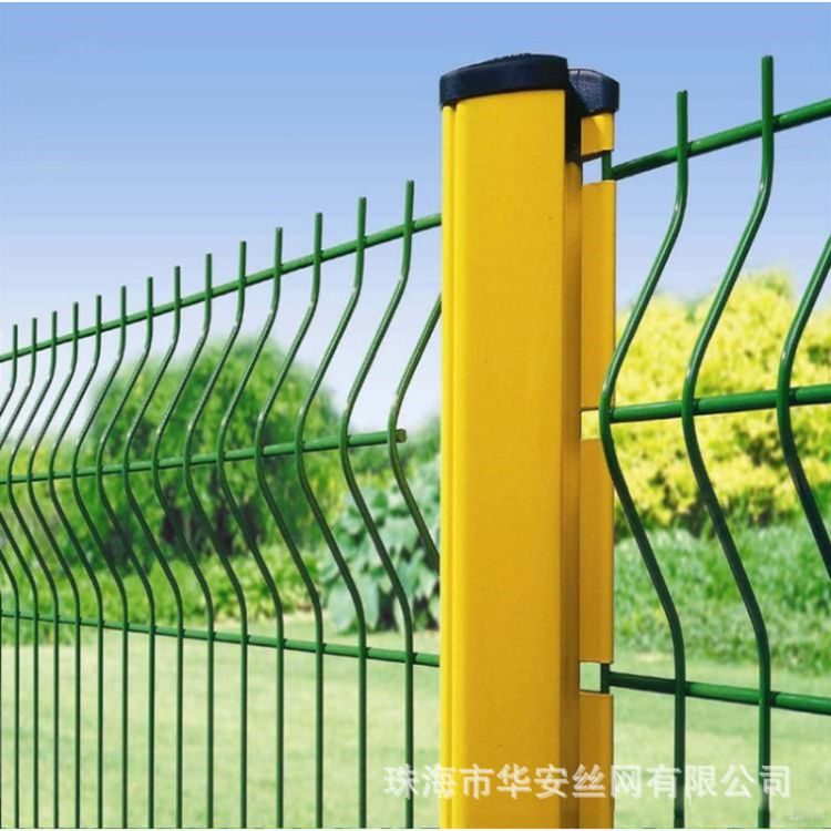 桃型柱护栏网 小区园林三角折弯喷塑护栏网 高速公路护栏网隔离栏