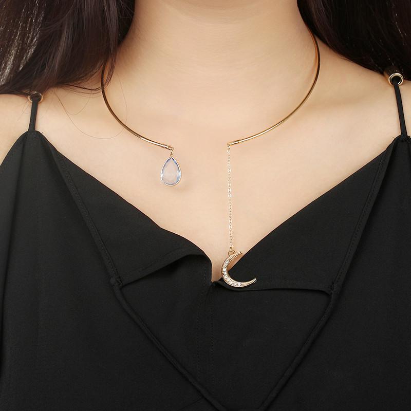 欧美外贸时尚饰品 简单大方镶钻月亮水滴女士短款项链项圈