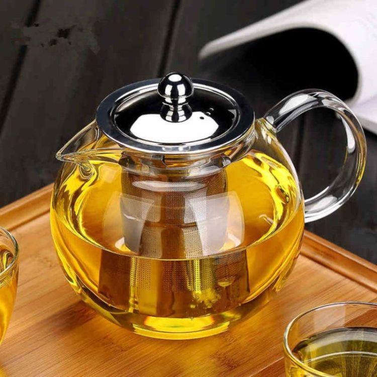 厂家批发玻璃茶具 加厚耐热玻璃泡茶壶 不锈钢过滤壶 圆趣壶