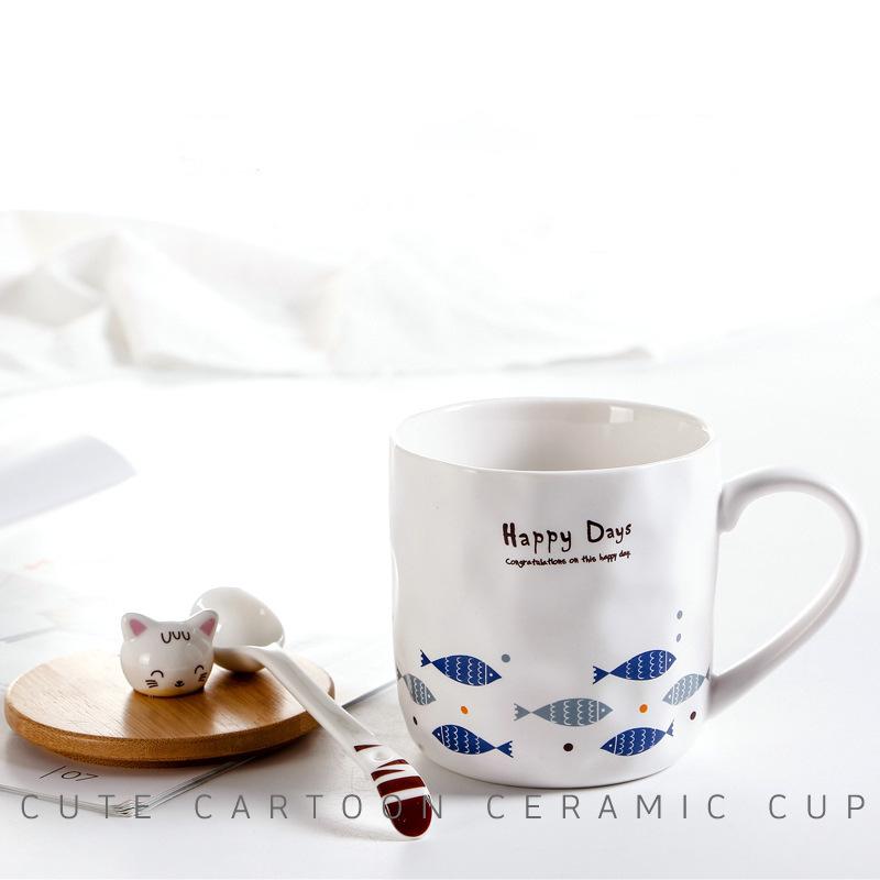 陶瓷卡通杯子猫咪和鱼带勺盖陶瓷杯 立体动物马克杯现货批发