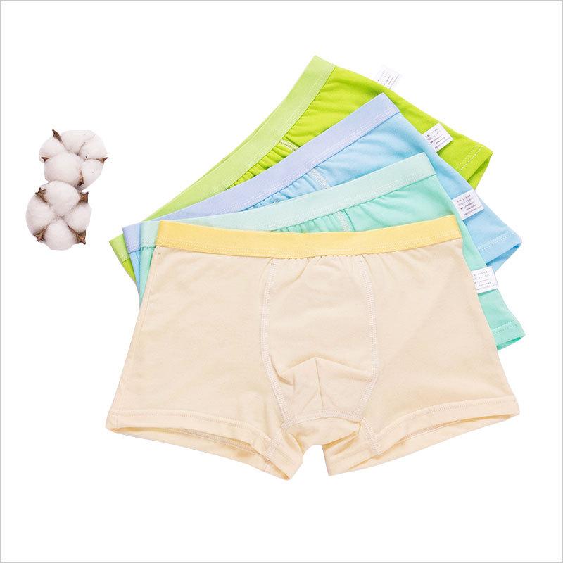 新款儿童内裤平角纯棉男童内裤纯色中大童青少年底裤2条袋装批发