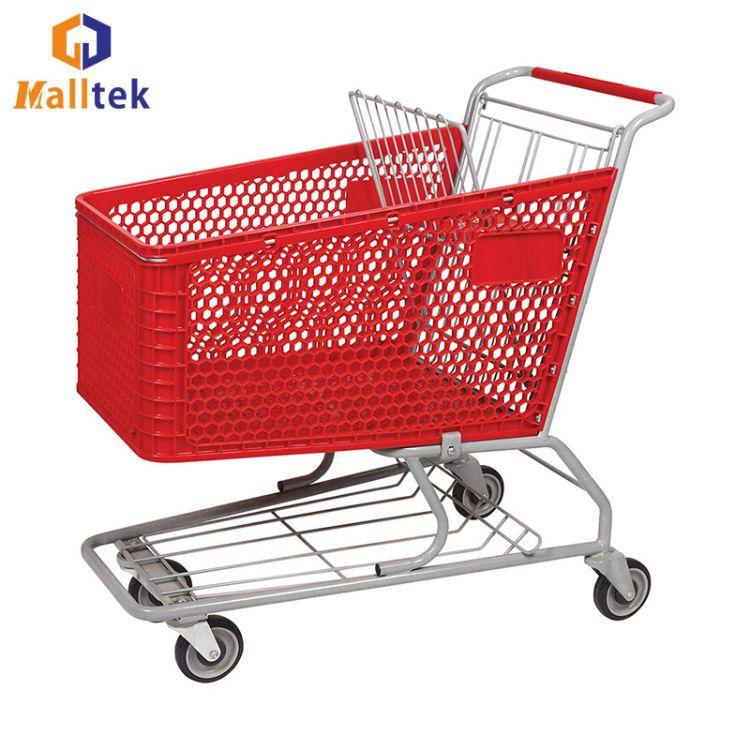 供应塑料手推车 超市塑料购物车 超市手推车 商场购物车 厂家直销