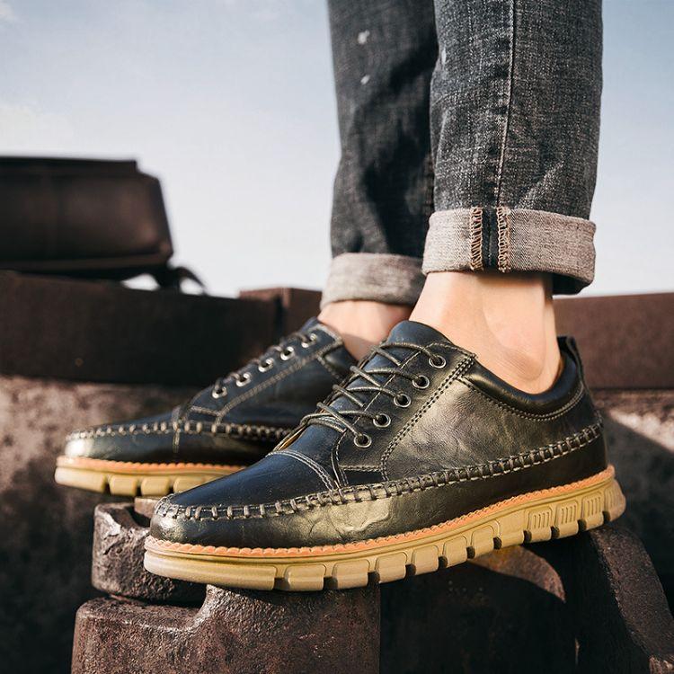 男士休闲低帮鞋子韩版男士百搭真皮青年头马丁鞋低帮男鞋一件代发