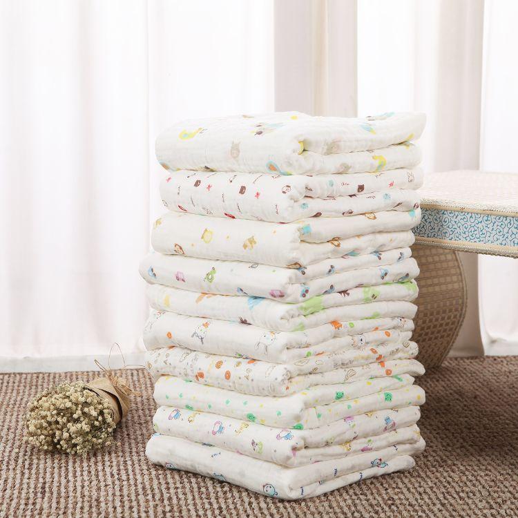 厂家直销加厚加密纯棉儿童毛巾被 婴儿盖被 印花六层纱布婴儿浴巾