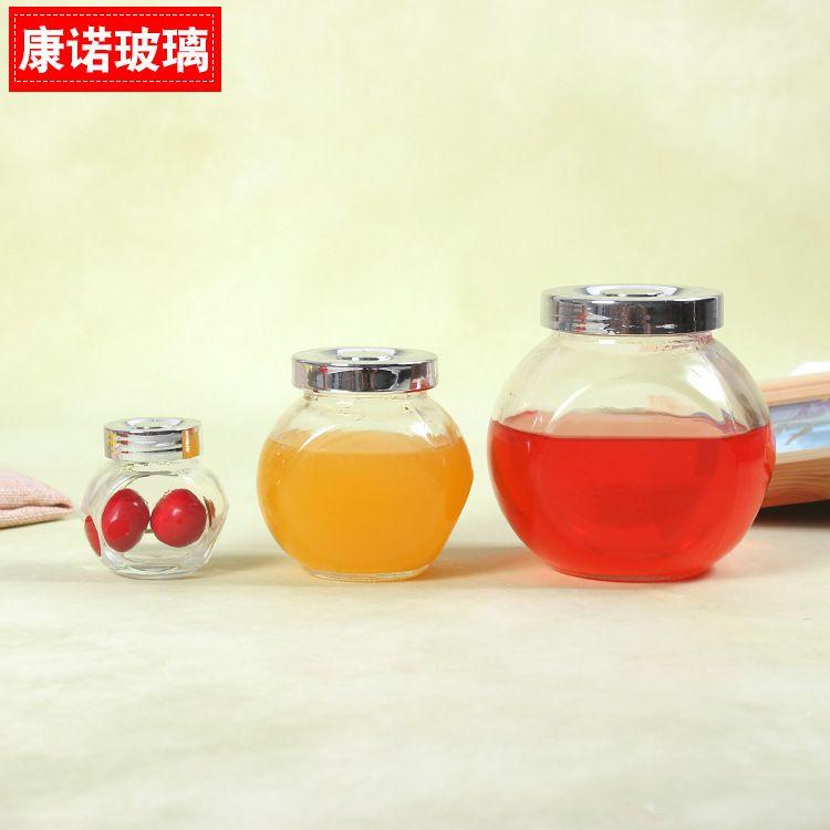 扁鼓玻璃瓶 花茶玻璃密封瓶 蜂蜜瓶批发玻璃储物罐黑枸杞包装瓶
