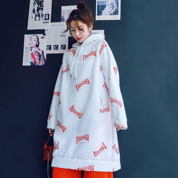 秋冬季2018新款韩版松松垮垮卫衣女大码加绒加厚中长款长袖外套潮