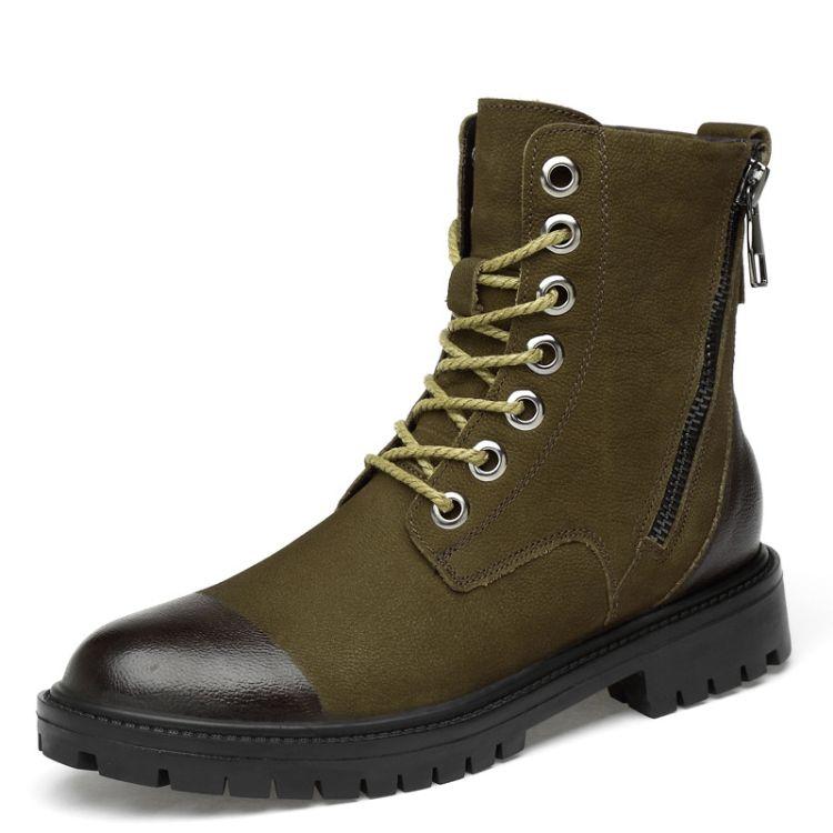 真皮马丁靴男英伦中帮加绒冬季工装男鞋潮男靴子百搭雪地军靴高帮