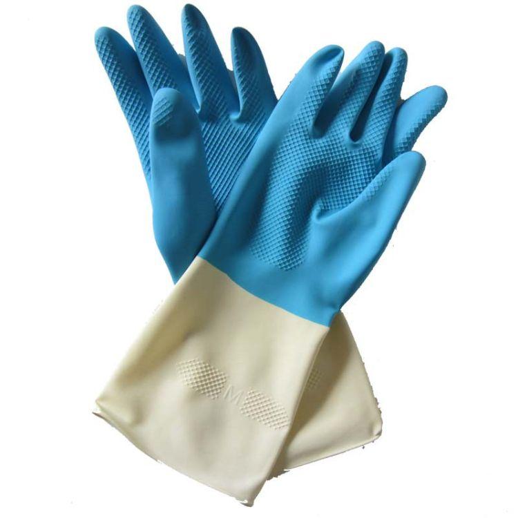 花之恋蓝白双色家用乳胶手套 加厚乳胶手套家务橡胶防水护手手套