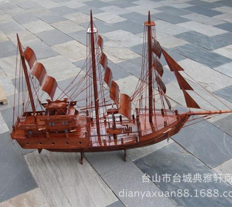1米木雕帆船模型  木制帆船  一帆风顺 木艺  摆件  木雕工艺品