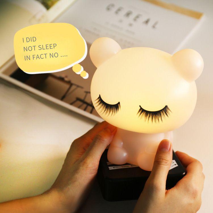 厂家直销定制图案 LED台灯工艺摆件小夜灯创意台灯 睡睡熊台灯