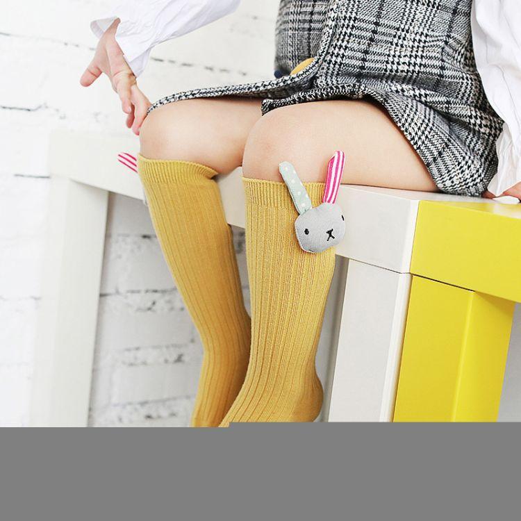 儿童袜子秋季新款双针全棉婴童长筒袜卡通公仔糖果色宝宝高筒袜子