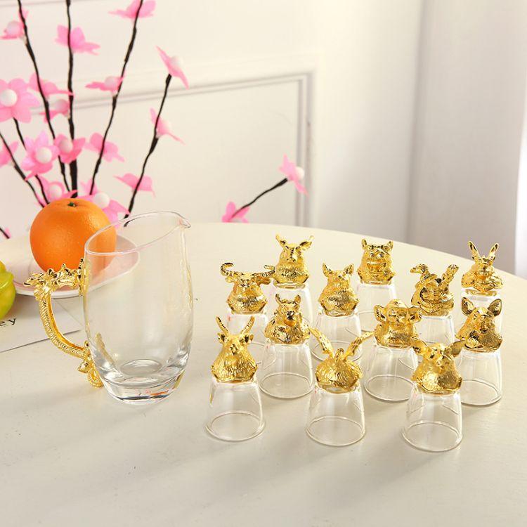 欧式单层玻璃杯 定制十二生肖玻璃套装杯 婚庆喜宴礼品玻璃杯批发