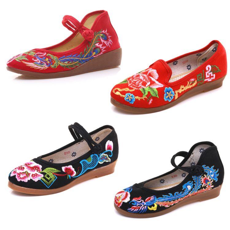 凤鸾 浣溪沙 倾城 涅�� 蜡染 小坡跟民族风绣花帆布女单鞋布鞋