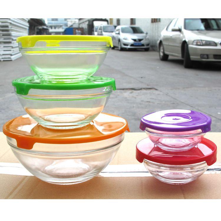 五件套玻璃保鲜盒 五色盖子玻璃碗五件套  彩盒盖子保鲜环保碗