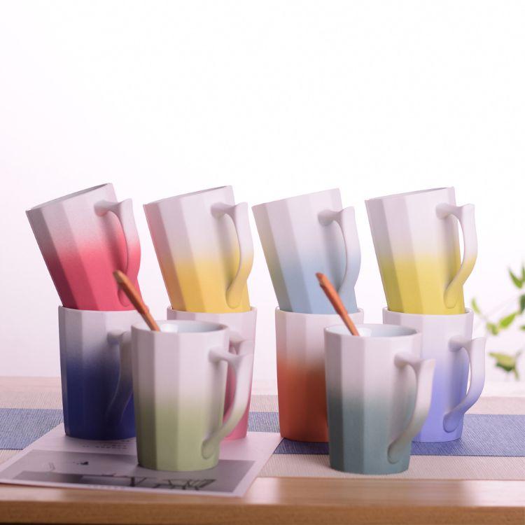 景德镇热销清新系列陶瓷马克杯情侣杯定制简约文艺办公室陶瓷水杯