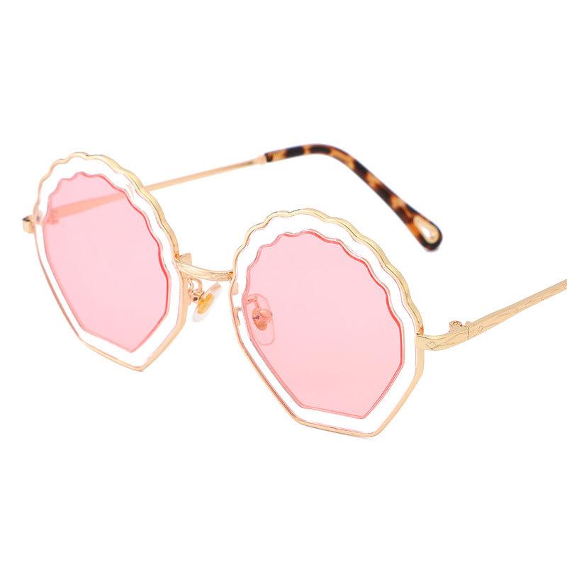 2019新款时尚花朵太阳镜 圆框双圈镂空不规则墨镜花朵波浪纹眼镜