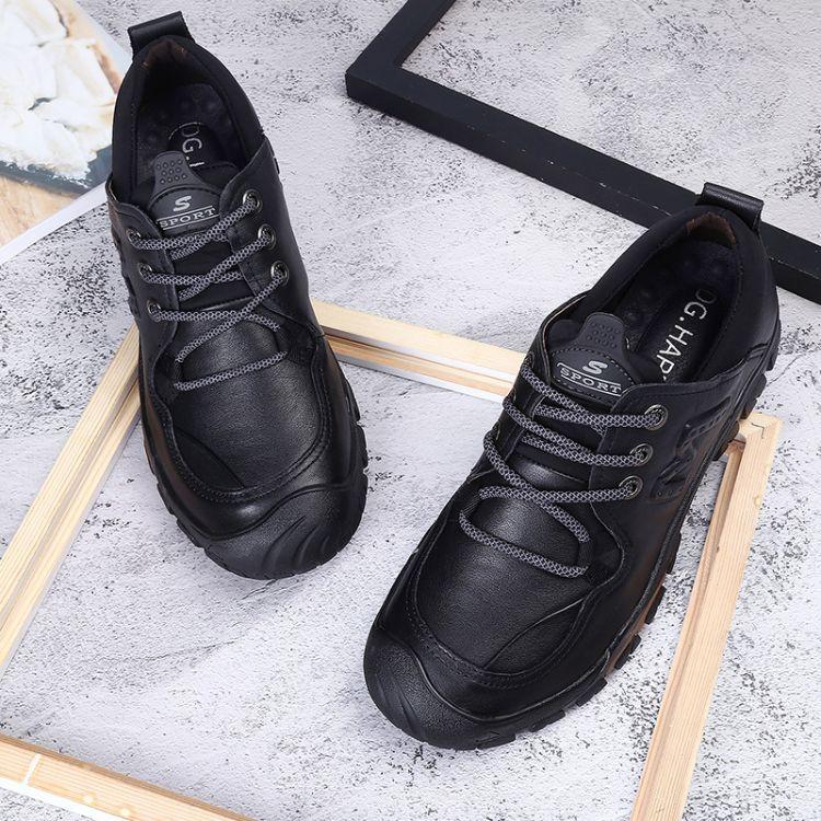 秋季户外运动男鞋新款商务休闲鞋圆头牛皮柔软防滑商务休闲皮鞋男