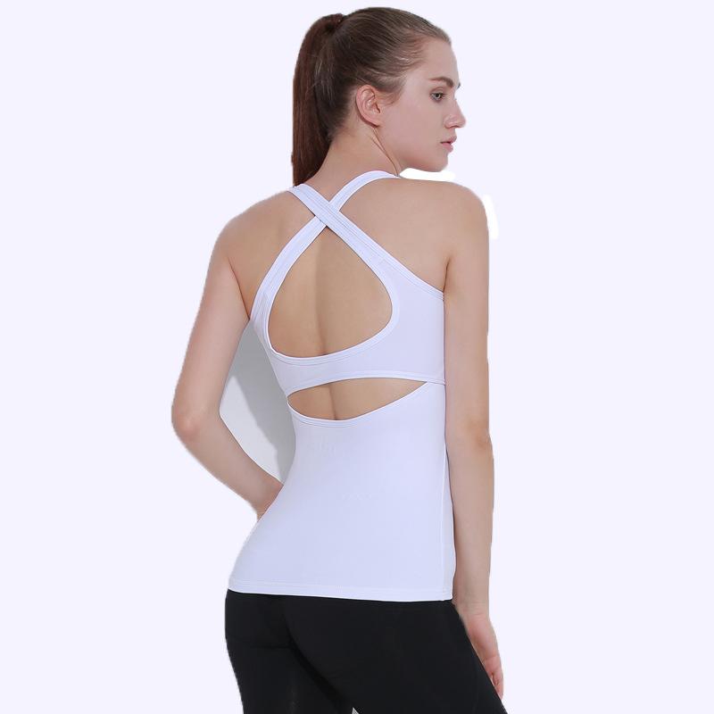 瑜伽新品交叉美背背心运动服装夏季健身瑜伽服女瑜伽背心一件代发