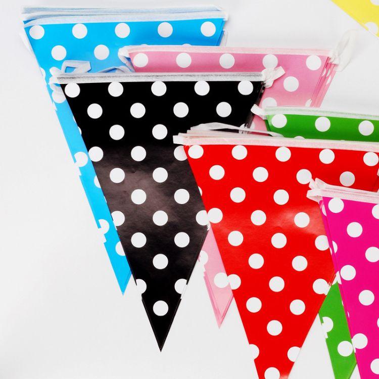 派对用品 生日圆点三角旗 装饰派对聚会10面纸质横幅 挂旗拉花