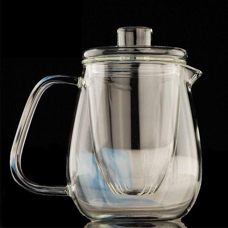 厂家大量供应耐热玻璃花茶壶 滤网泡茶壶 透明玻璃壶600ml