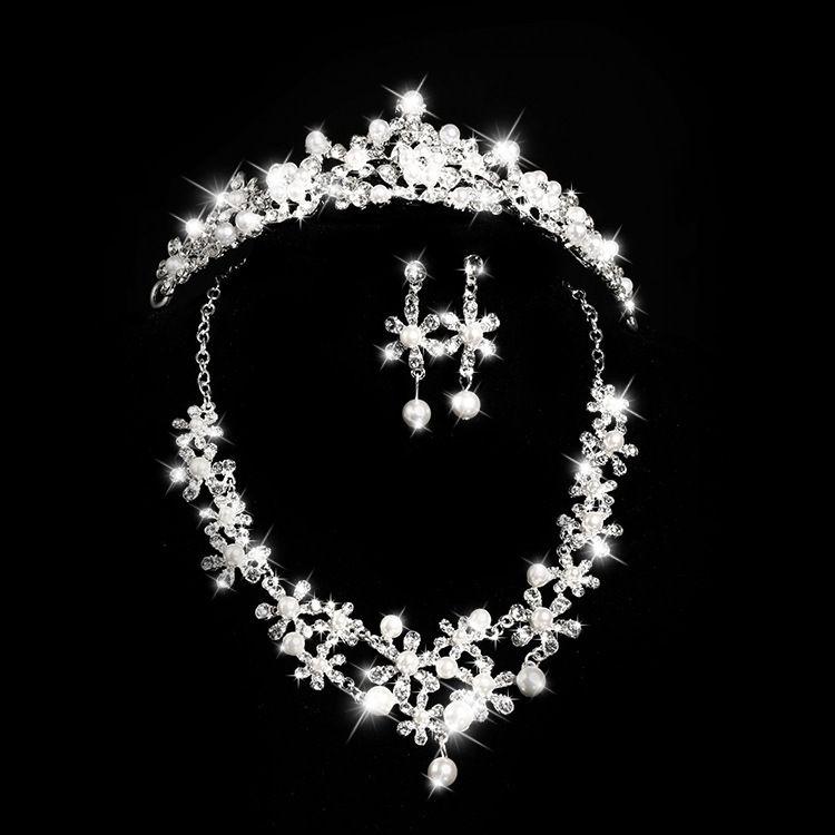 新娘饰品套装 小菊花镶钻珍珠结婚饰品头饰套装 新娘合金皇冠