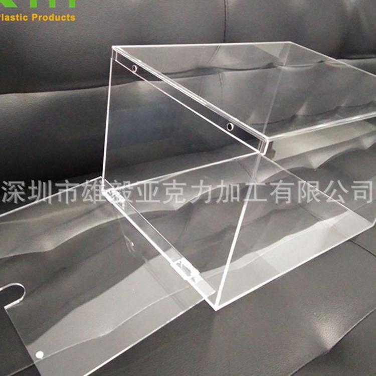 精美有机玻璃鞋盒 亚克力带合页翻盖四方盒 透明方形盒子定做