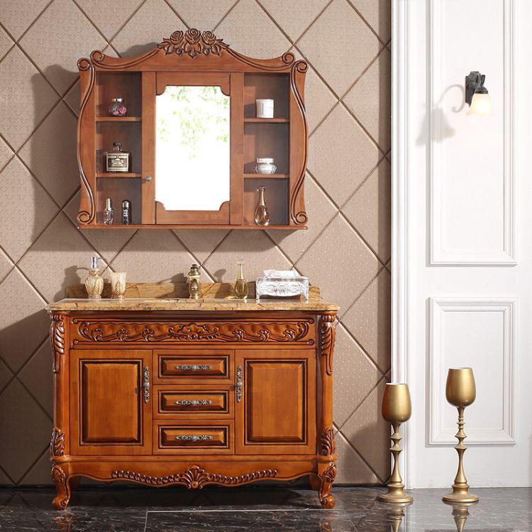 欧式浴室柜组合仿古卫浴柜整体洗手台实木洗脸盆柜简欧洗漱台落地