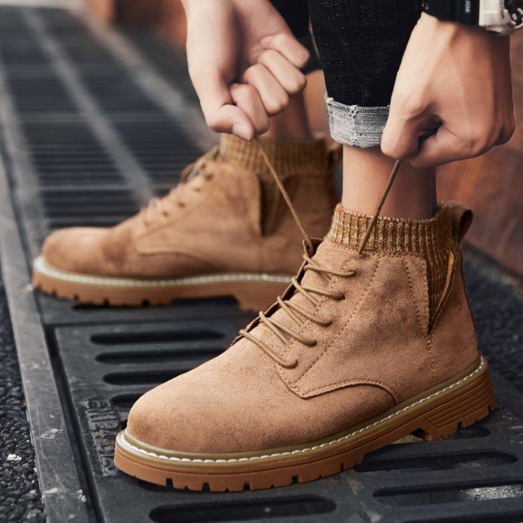 马丁靴男潮鞋男鞋高帮鞋英伦风男士中帮雪地靴子鞋子冬季加绒棉鞋