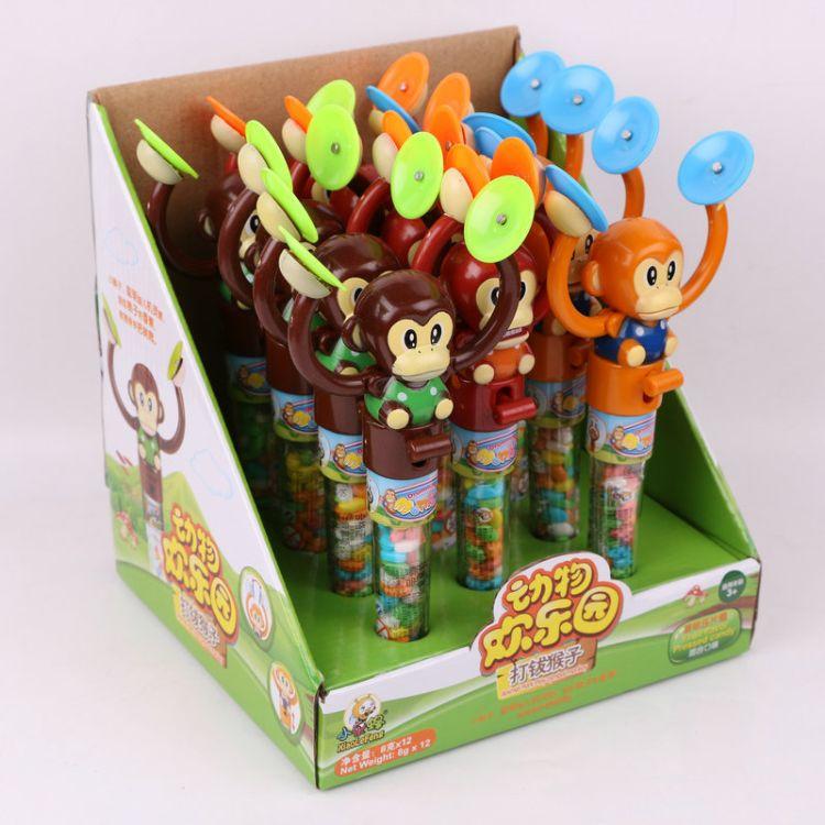 8克水果味糖果休闲食品玩具糖批发 猴子打锣玩具糖儿童玩具食品