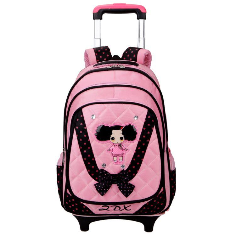 2016新款小学生拉杆书包可拆卸手托拉背包迷糊娃娃双肩学生包厂家