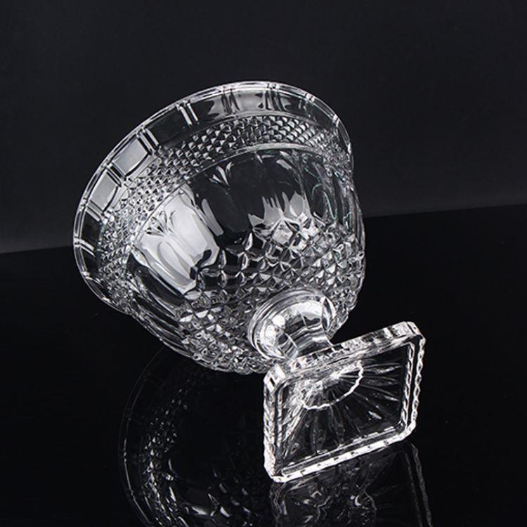 高档水晶玻璃大号水果盘 高脚透明水果碗 布兰登水晶盘客厅摆件