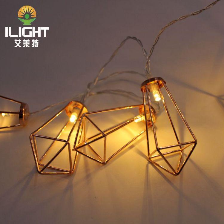 17新款LED铁艺锥型电池灯 节日婚庆装饰彩灯串灯 铁艺造型灯串