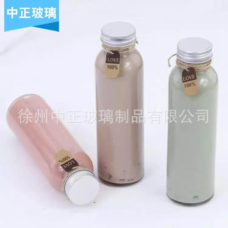 玻璃饮料瓶丝口奶茶瓶冷泡茶瓶果汁瓶可定制饮料玻璃瓶350ml定制