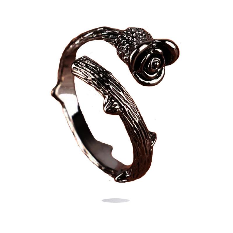 新款wish热卖魅力玫瑰金花朵女戒指首饰复古花朵戒指仿古带刺玫瑰