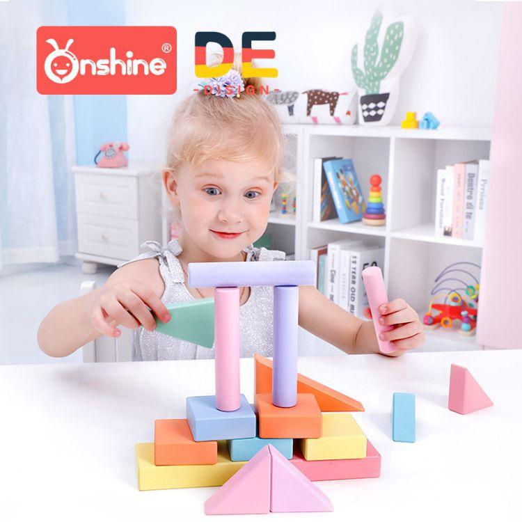 新款松木制马卡龙彩色拖车积木 儿童启蒙早教智力玩具24粒