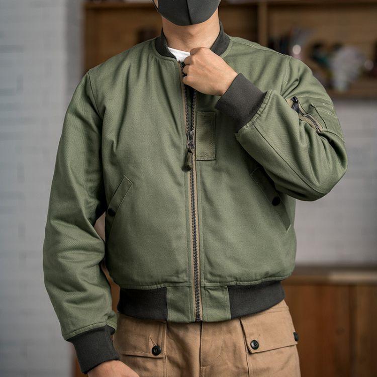 马登工装 美式vintage空军MA-1飞行夹克冬季棉衣军事风立领外套男
