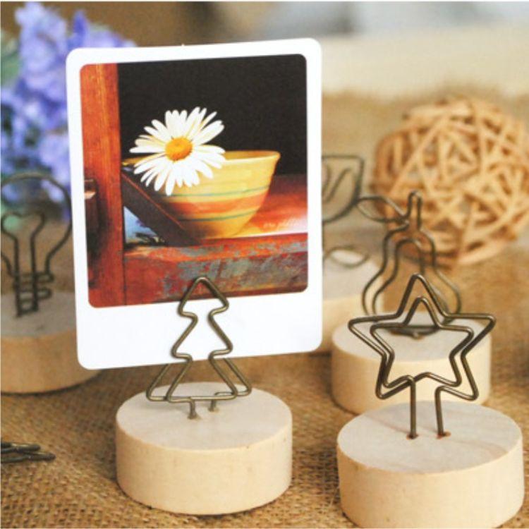 木制工艺品创意原木质铁艺夹子便签夹名片夹家居装饰diy手工配件