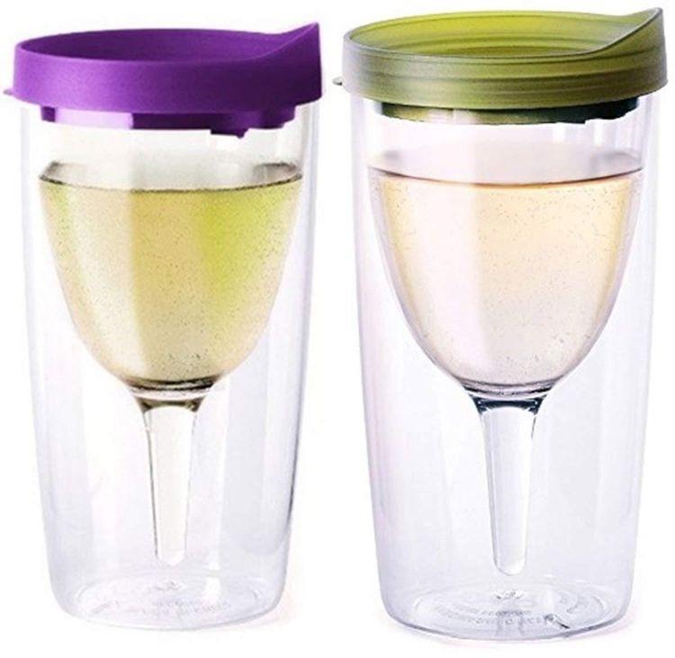 厂家直销 10oz双层塑料红酒杯创意无底座隔热高脚红酒杯定制logo