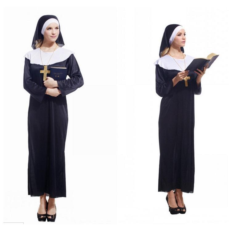 厂家直销万圣节cosplay服装修女服装玛利亚修女舞台演出服装
