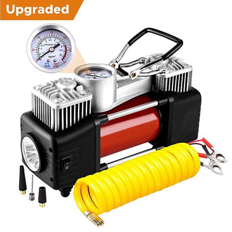 直销汽车充气泵便携式12V车载充气泵双缸电动车打气泵轮胎打气筒