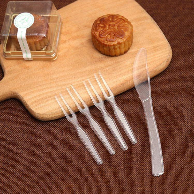 厂家批发月饼刀叉 透明塑料月饼刀叉 一次性透明塑料月饼刀叉