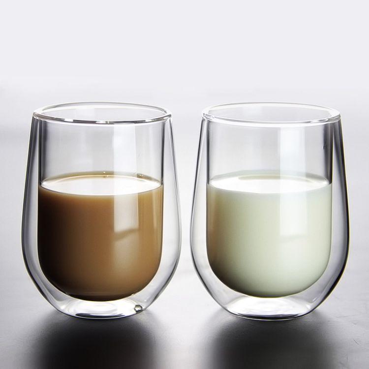 高硼硅耐热玻璃杯水杯 双层杯 饮料牛奶杯 隔热玻璃咖啡杯