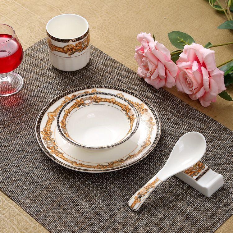 酒店陶瓷餐具碗盘碟套装陶瓷酒店高档餐具包厢摆台餐具可定制LOGO
