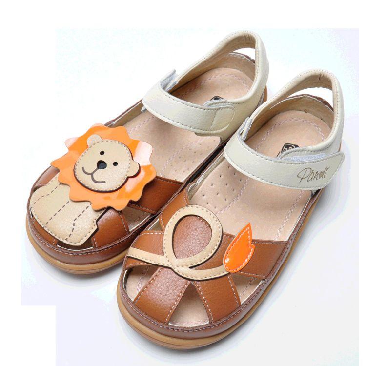 熊猫胖迪2018春夏新款男童鞋韩版可爱狮子宝宝鞋儿童包头AB版凉鞋