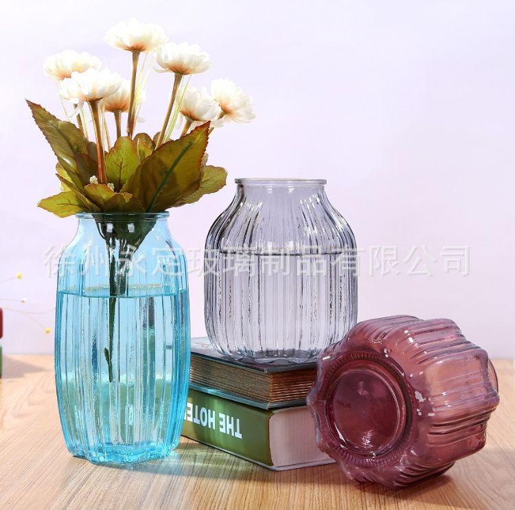 批发悬挂玻璃花瓶玻璃彩色玻璃花瓶水培插花瓶八角富贵竹水培花瓶