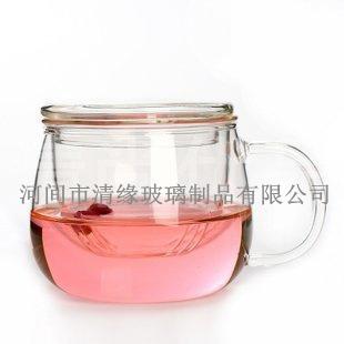 经典玻璃圆趣杯 手工耐热玻璃三件杯 创意带盖花茶玻璃办公杯