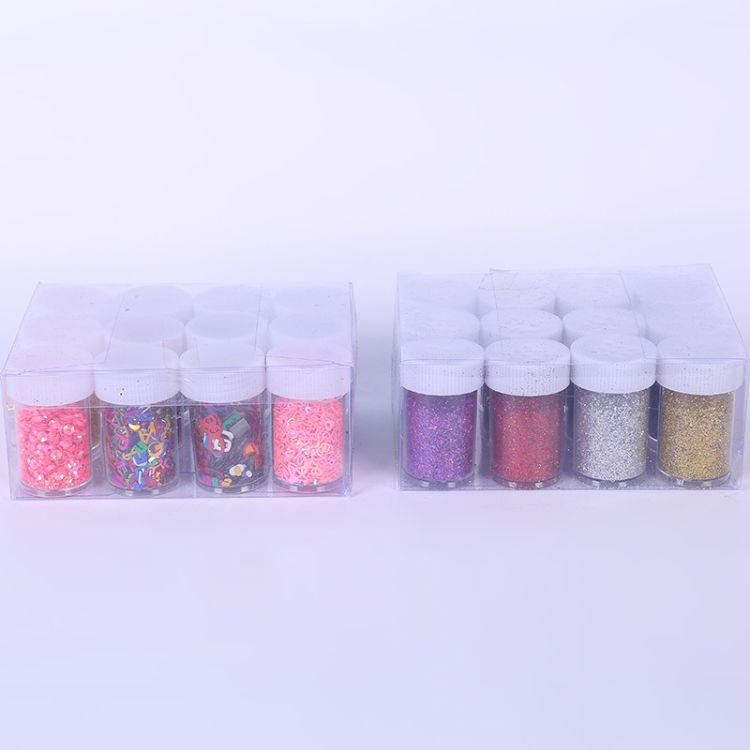 12色瓶装亮片闪光粉史莱姆水晶金粉泥亮片闪粉金葱粉DIY闪粉亮片